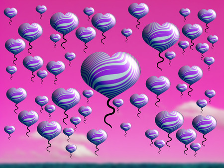 multiplying: Balloons of hearts flying on pink sunset sky