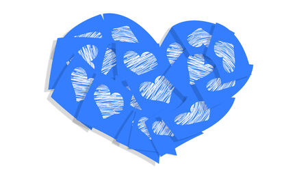 Blue heart symbol of papers isolated on white photo