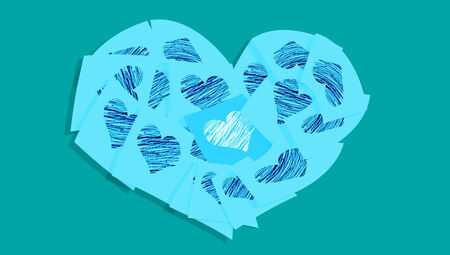 communicated: Blue heart of love notes