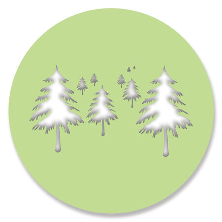 Pine trees holes shapes on green circle isolated on white background photo