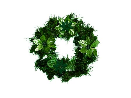 corona navidad: Verde oscuro corona de Navidad aislado en blanco