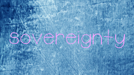 sovereignty: Sovereignty pink chalk word on blue chalky class background Stock Photo