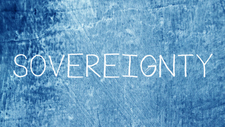 sovereignty: Sovereignty word on blue chalky grunge background Stock Photo
