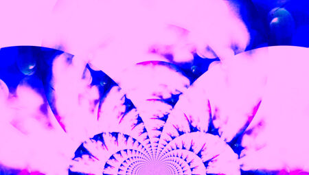 spiralized: Pink and blue fractal abstract background with arches spin