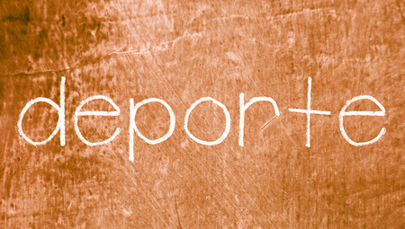 chalky: Deporte sport word on sepia chalky background