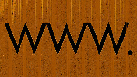 typographies: Black zig zag lines of www  letters on brown background