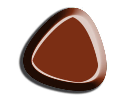 comfits: Dark chocolate triangular bonbon 3d shape isolated on white