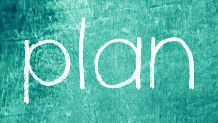 Plan for study chalk word on blue background photo