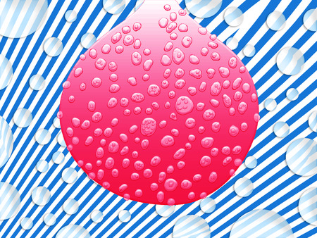 Pink bubble of gum with wet transparent drops on fantasy blue striped background and floating bubbles photo