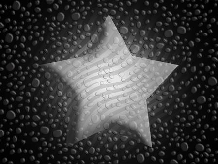 liquid x: Star shape on gray stripes and water drops abstract background Stock Photo
