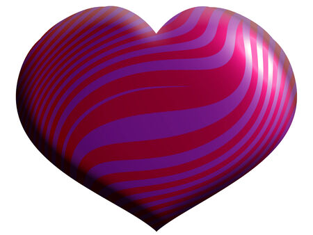 Purple and pink heart ornamental 3d shape for xmas isolated on white