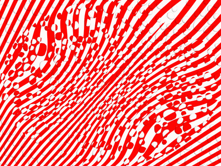 Transparent water movement with drops on striped red and white abstract background photo