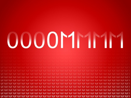 Binary code numbers in om mantra red background for technology business photo