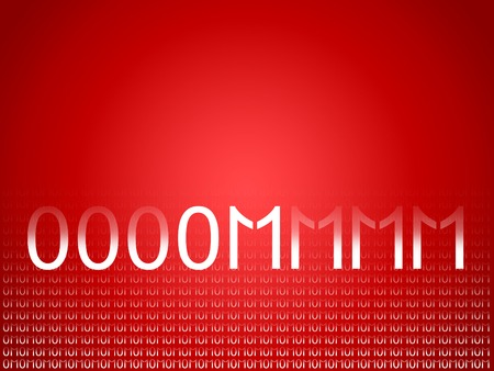 echoes: Om red abstract background of binary code