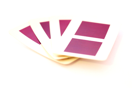 Original playing cards of purple color squares on white