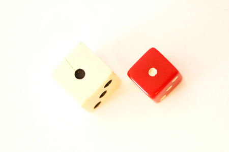 White and red two dices close up Stock Photo