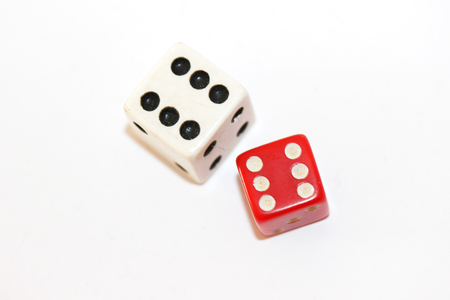 double the chances: Two dices cubes with double six isolated on white background