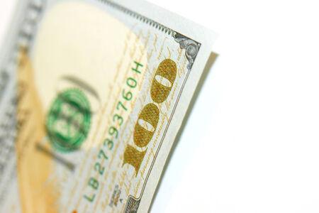 one hundred dollars: One hundred dollars bill corner close up Stock Photo