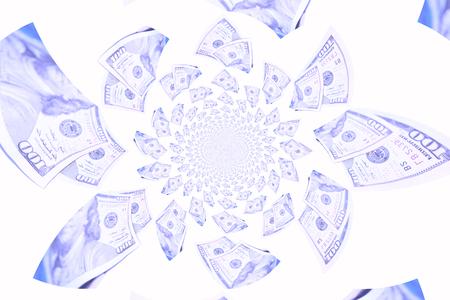 multiplying: Abundance of blue dollars bills flying isolated on white background