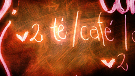 oldish: 2 tea and coffee bar text with hearts on blackboard closeup Stock Photo