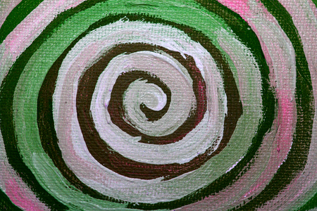 naif: Spiral of paint close up in green and white background Stock Photo