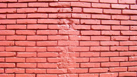 fixed line: Red brick wall background with fixed broken line Stock Photo