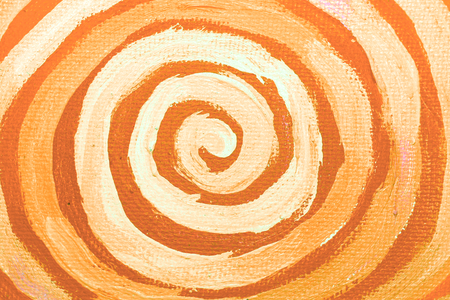 naif: Orange painted spiral closeup abstract background Stock Photo