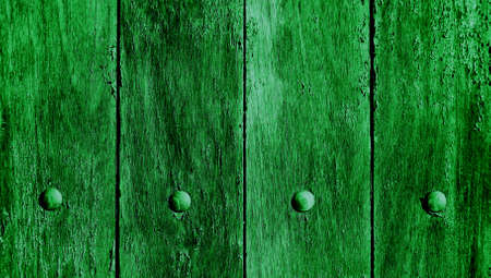 Green grunge old wood background close up with nails photo