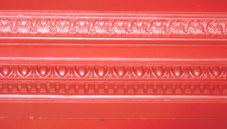 metallized: Red vintage elegance on abstract background of architecture molding Stock Photo