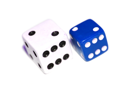 double the chances: Blue and white dices couple closeup Stock Photo