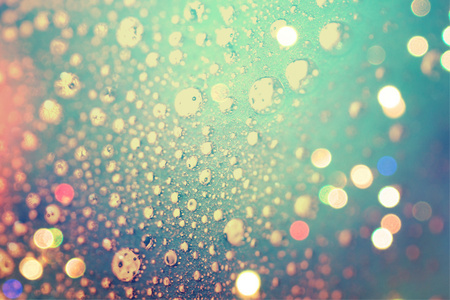 Lights of luminous bubbles in deep water abstract background photo