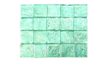 Aqua green glass squares tiles background isolated on white photo