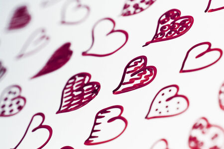 macrophotography: Red purple hearts draw close up background Stock Photo
