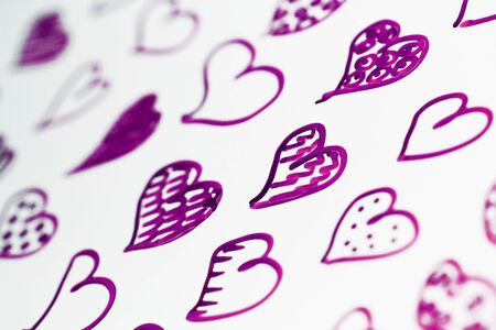 close ups: Purple hearts illustration closeup