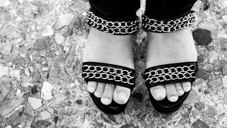 fingers on top: Woman sandals shoes top view with free fingers