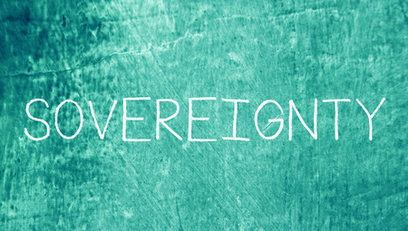 sovereignty: Sovereignty caps letters word on blue grunge background