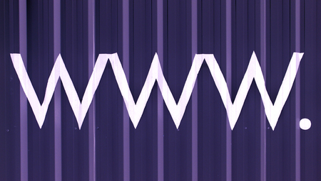typographies: Internet domain www letters abstract striped blue background