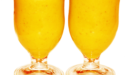 Orange juices couple isolated on white photo