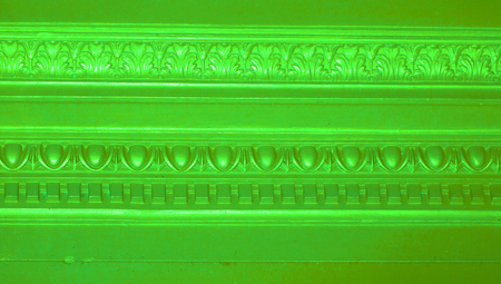 closeups: Vibrant light green old architectural detail lines background Stock Photo