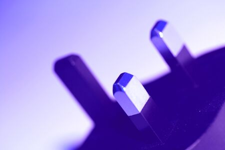 connector: Blue plugin electrical connector closeup abstract shape