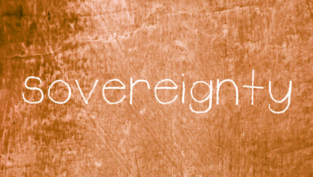 sovereignty: Sovereignty chalk word on brown grunge background Stock Photo