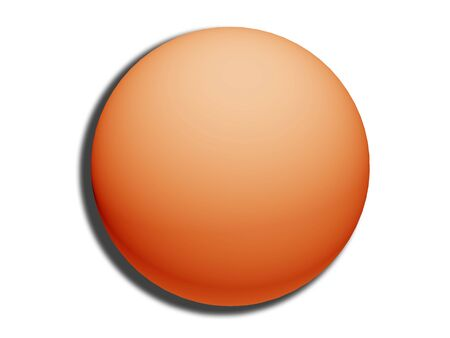 centered: Orange 3d sphere top view isolated on white background like circular button