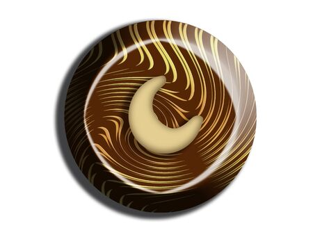 sugarplum: Circular chocolate with cashew nut on top view isolated on white