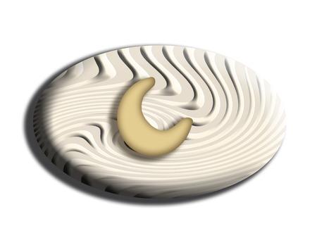 oval shape: Striped white chocolate of oval shape with nut