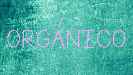 organic concept: Organic concept on blue grunge class board