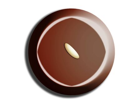 comfits: Chocolate circle illustration from top view on white Stock Photo