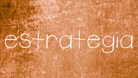 spanish language: Strategy concept word in spanish language Stock Photo