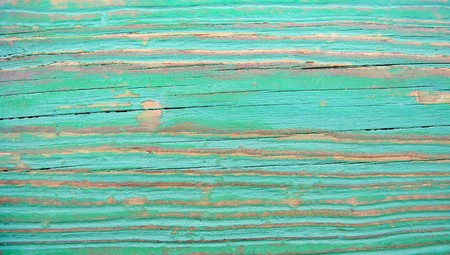 Turquoise grunge painted wood abstract background closeup with stripes Stock Photo