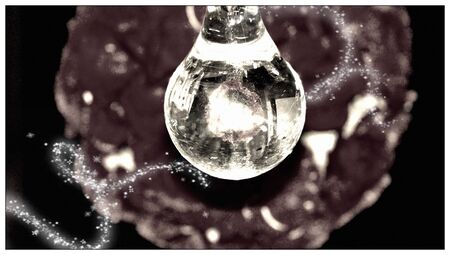 bn: Crystal cairel light closeup on dark background