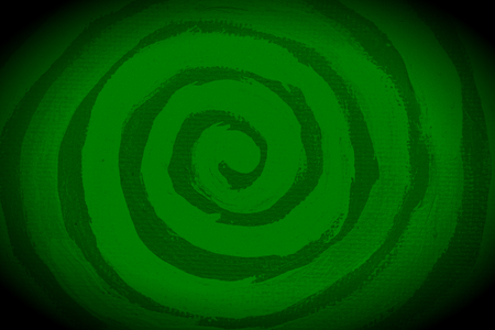green lines: Dark green painted spiral circular abstract background